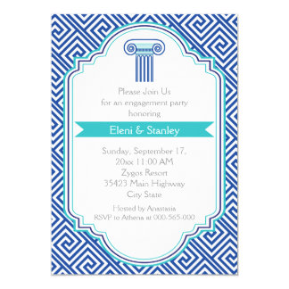 Greek key pattern & blue column engagement party 13 cm x 18 cm invitation card