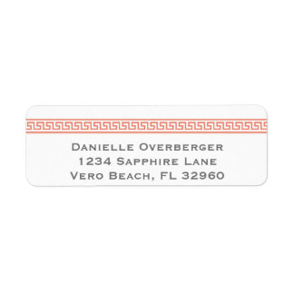Greek Key Peach Return Address Labels