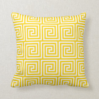 Greek Key Pillow in Freesia Yellow Throw Cushions