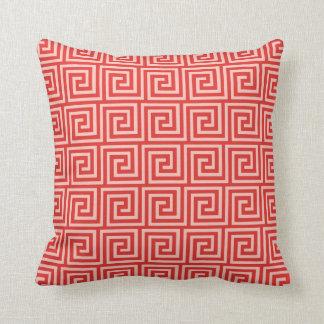 Greek Key, shades of coral pink Cushions