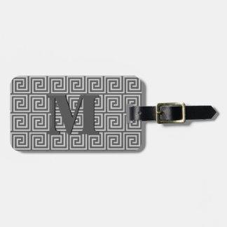 Greek Key, shades of grey / gray Luggage Tag