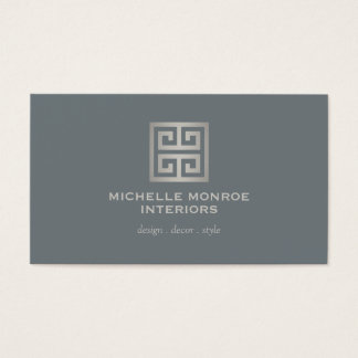 Greek Key Slate/Silver Business Card