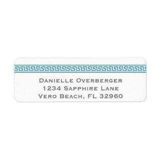 Greek Key Teal Return Address Labels