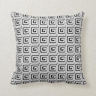 Greek Key White Throw Pillow