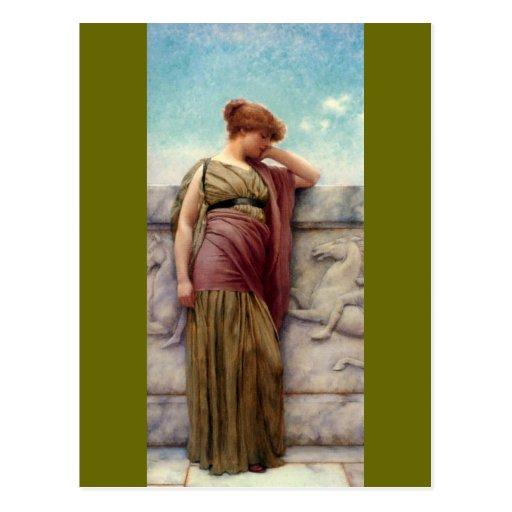 Greek lady leaning on a Balcony by Godward Post Cards