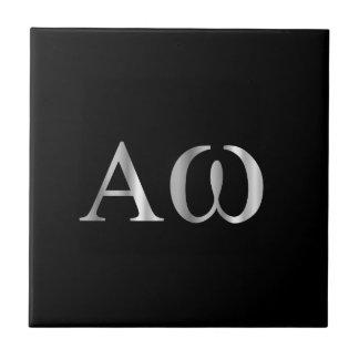 Greek Letter- Alpha and Omega Small Square Tile