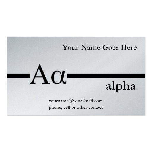 Greek Letter Alpha Custom Design Business Card Template