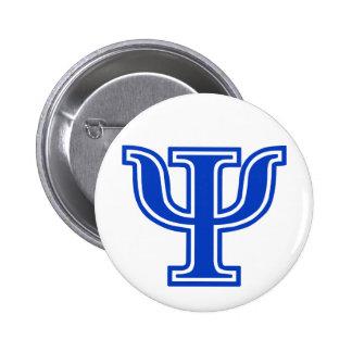 Greek Letter Psi Blue Monogram Initial 6 Cm Round Badge