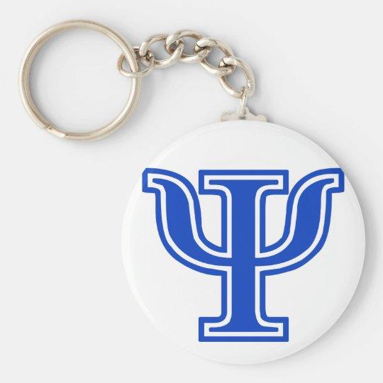 Greek Letter Psi Blue Monogram Initial Key Ring