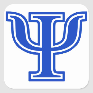 Greek Letter Psi Blue Monogram Initial Square Sticker