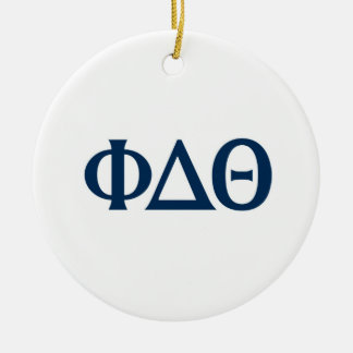 Greek Letters - Blue Round Ceramic Decoration
