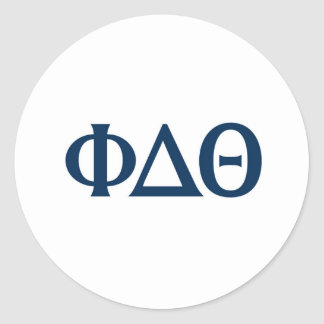 Greek Letters - Blue Round Sticker
