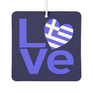 Greek LOVE Dark Blue Background Car Air Freshener