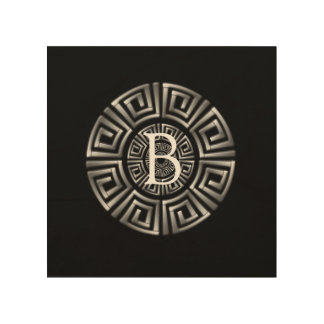 Greek Monogram Circle Motif Wood Prints