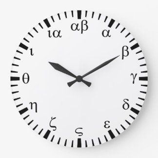 Greek numbers wall clock
