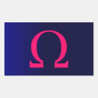 Greek Omega in Pink #3 Rectangular Sticker