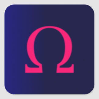 Greek Omega in Pink #3 Square Sticker