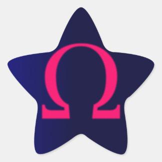 Greek Omega in Pink #3 Star Sticker