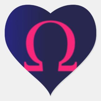 Greek Omega in Pink #3 Heart Sticker