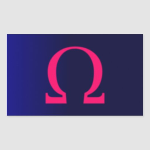 Greek Omega in Pink #3 Rectangle Stickers