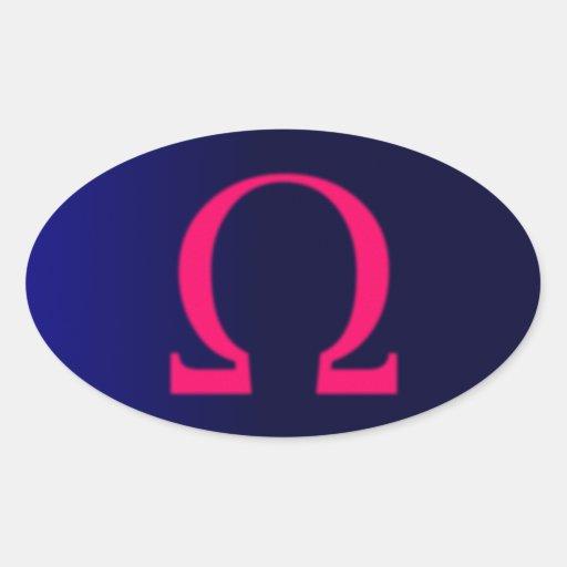 Greek Omega in Pink #3 Oval Sticker