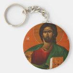 GREEK ORTHODOX ICON JESUS CHRIST BASIC ROUND BUTTON KEY RING