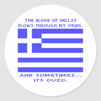 Greek Ouzo Round Sticker