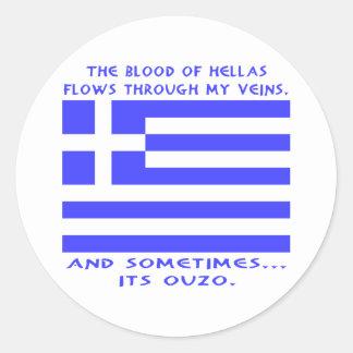 Greek Ouzo Round Stickers