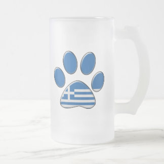 Greek patriotic cat frosted glass mug
