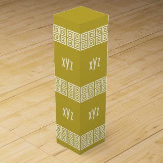 Greek Pattern custom monogram bottle gift box
