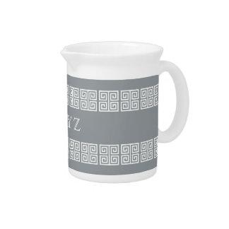 Greek Pattern custom monogram pitcher