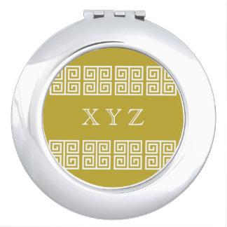 Greek Pattern custom monogram pocket mirror Compact Mirrors
