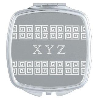 Greek Pattern custom monogram pocket mirror Travel Mirrors