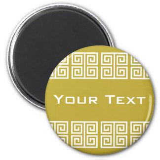 Greek, pattern, geometric, abstract, elegant, Gree 6 Cm Round Magnet