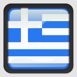 Greek polished square sticker