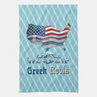 Greek Roots American Map Kitchen Towel