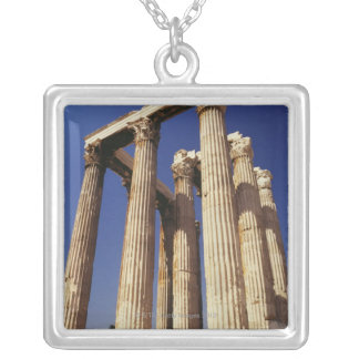 Greek ruins, Athens, Greece Silver Plated Necklace