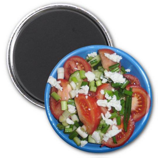 Greek Salad 6 Cm Round Magnet