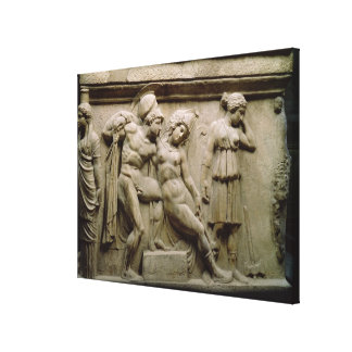 Greek Sarcophagus with a Scene showing the Battle Stretched Canvas Prints