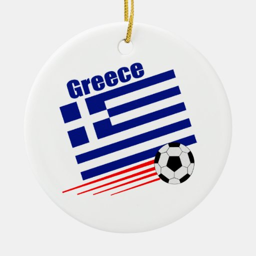 Greek Soccer Team Double-Sided Ceramic Round Christmas Ornament