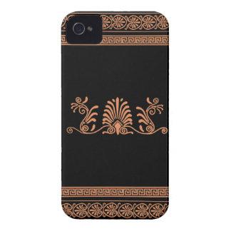Greek Style Black and Orange Floral Design iPhone 4 Case-Mate Cases