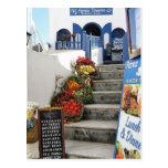 greek tavern on Santorini, Greece Postcard