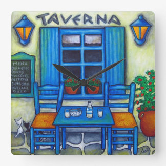 Greek Taverna Square Wall Clock, Lisa Lorenz Square Wall Clock