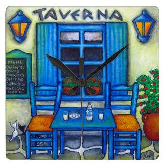 Greek Taverna Square Wall Clock, Lisa Lorenz Wall Clock
