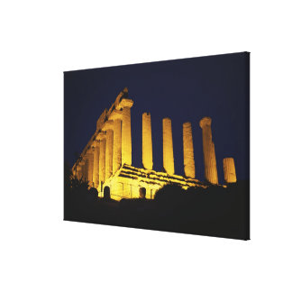 Greek Temple at Night with yellows and oranges Canvas Print