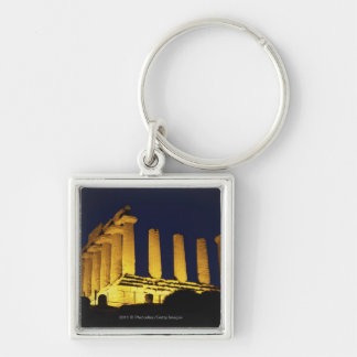 Greek Temple at Night with yellows and oranges Key Ring