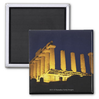 Greek Temple at Night with yellows and oranges Square Magnet
