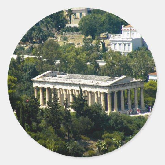 greek temple classic round sticker