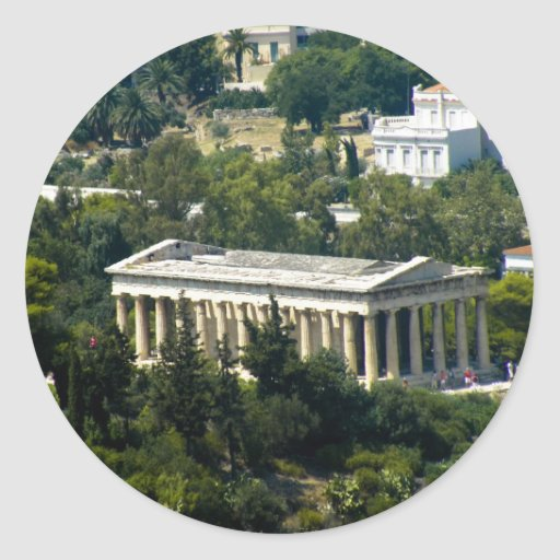 greek temple round sticker