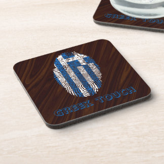 Greek touch fingerprint flag coaster